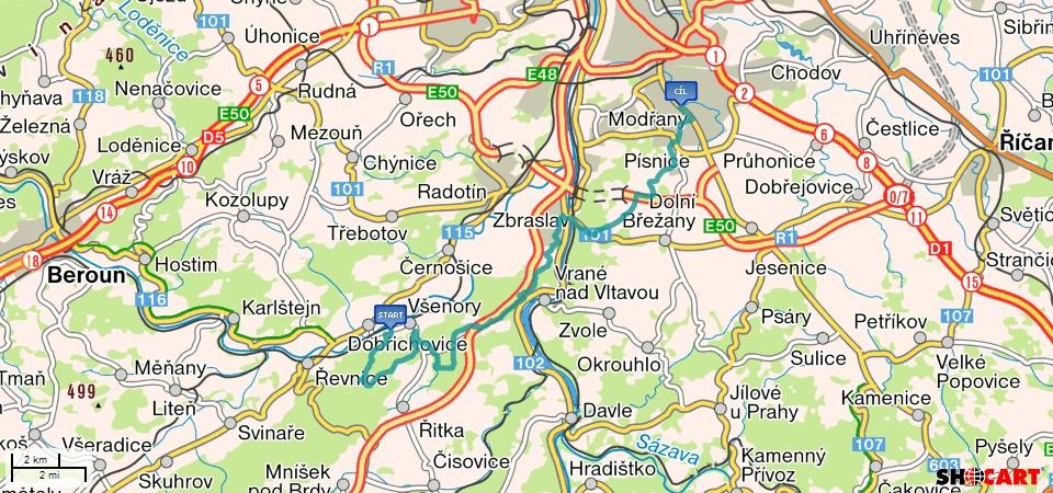 Mapa-Dobrichovice-Praha