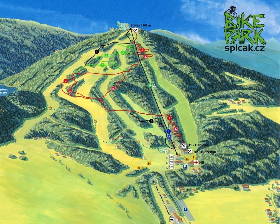 Bikepark Spicak Mapa trailu
