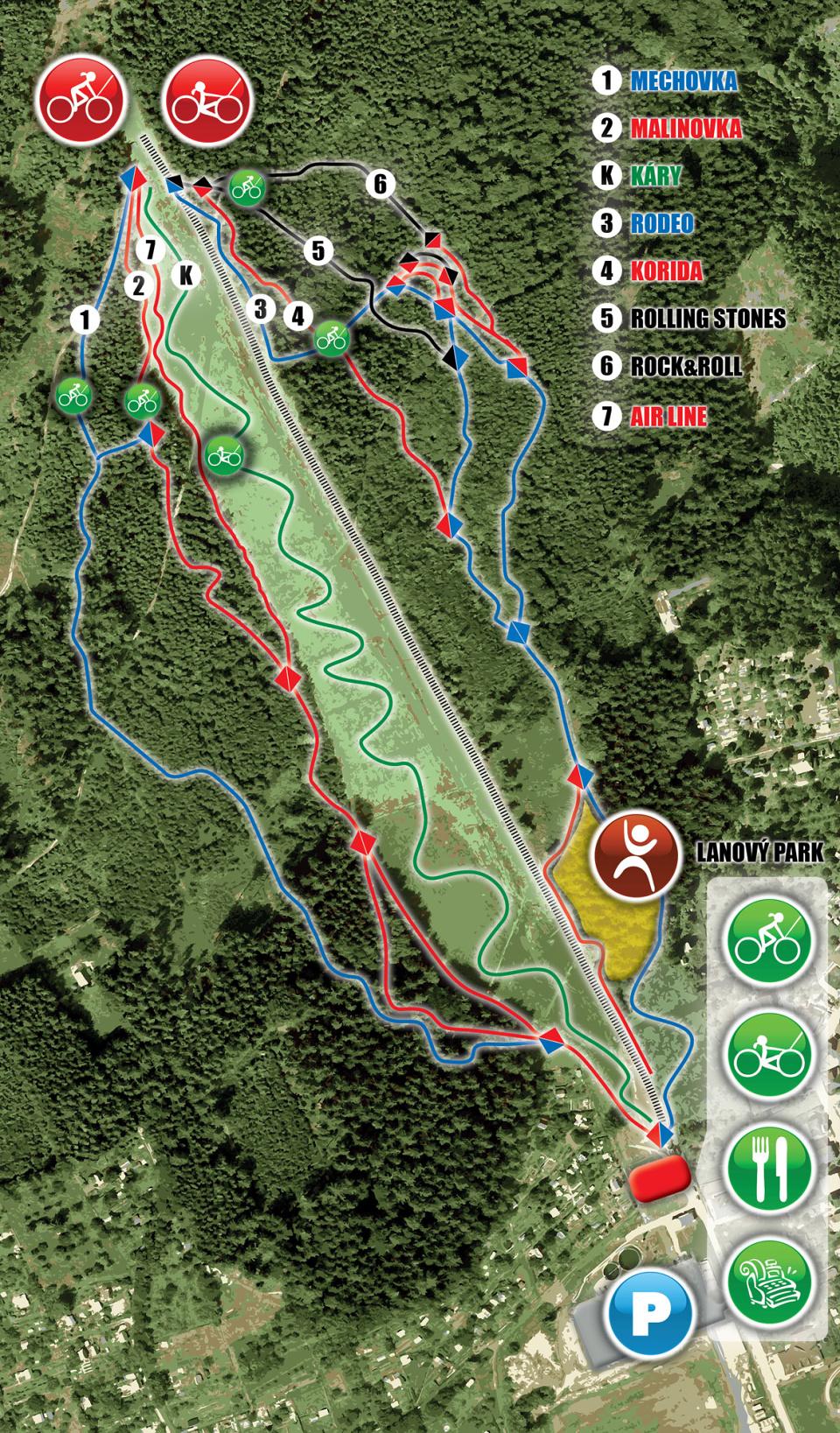 Bikepark Peklák - mapa tarilů