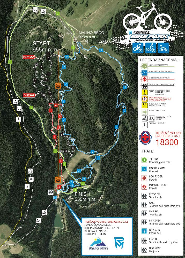 #MTBbikeparkCZ - Malino Brdo - mapa trailù
